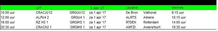 wedstrijden 1 april