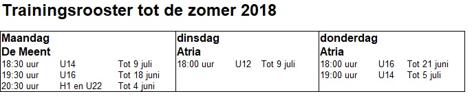 Trainingsrooster 2018